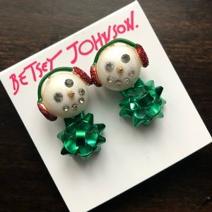 Betsey Johnson Snowman Bow Holiday Earrings